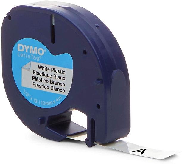 Dymo LetraTag 91331 Cinta Plastica Negro/Blanco de 12mm x 4m