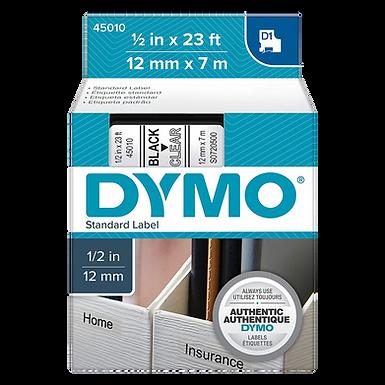 DYMO 45010 | Cinta Plastica Impresión Negro/Transparente 12mm x 7m
