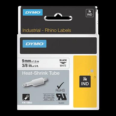 DYMO Industrial Rhino 18053 Tubo Termo Encogible 9mm x 1,52m Negro/Blanco