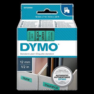 DYMO 45019   Cinta Plastica Impresión Negro/Verde de 12mm x 7m