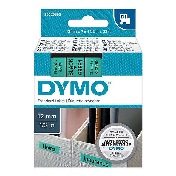 DYMO 45019   Cinta Plastica de 12mm x 7m Impresión Negro/Verde
