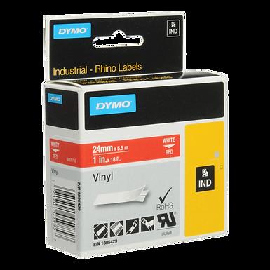 DYMO Industrial Rhino 1805429 Cinta de Vinilo de 24mm x 5,5m Blanco/Rojo