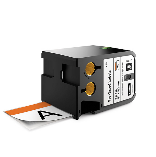 1868713 Cartucho de 70 Etiquetas de Seguridad Blanca Franja Naranja 51x102mm
