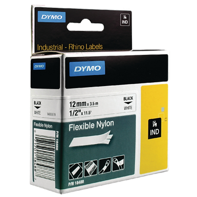 DYMO Industrial Rhino 18489 Cinta de Nylon Flexible 19mm x 3,5m de Negro/Blanco