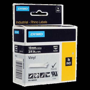 DYMO Industrial Rhino 1805436 Cinta de Vinilo de 19mm x 5,5m Blanco/Negro