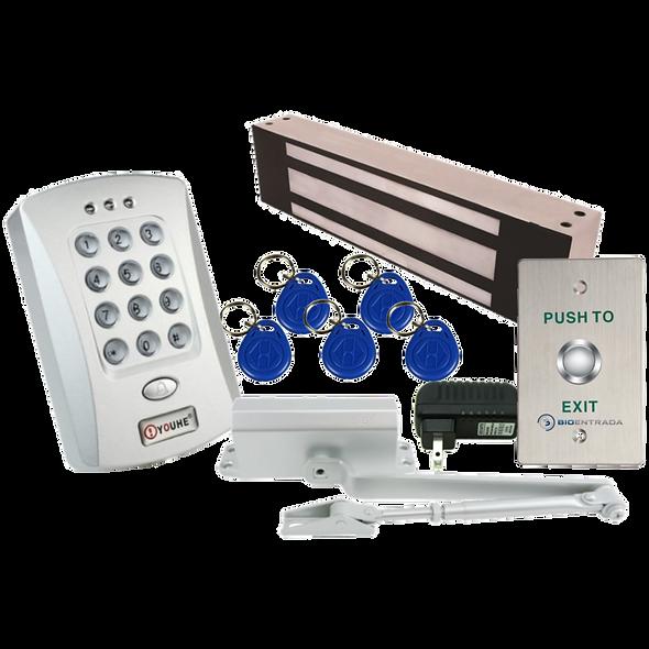 Kit Control Acceso Oficina: Lector, Electroiman 600 Lb, Brazo, Llaveros