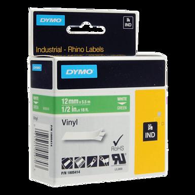 DYMO Industrial Rhino 1805414 Cinta Vinilo 12mm x 5,5m Blanco/Verde