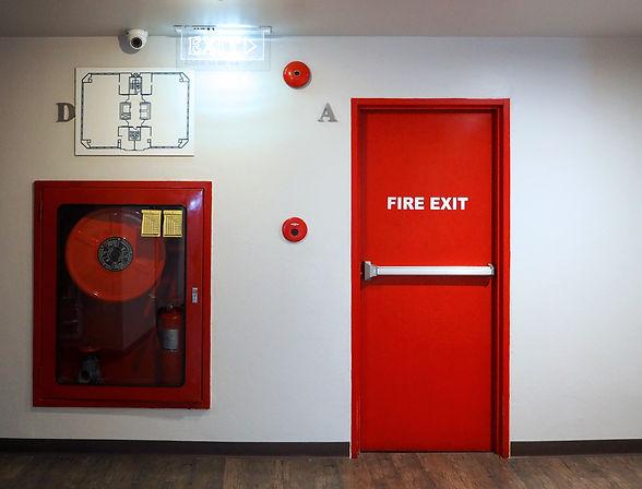 Fire exit emergency door red color metal