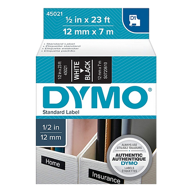 DYMO 45021 | Cinta Plastica Impresión Blanco/Negro de 12mm x 7m