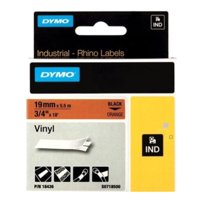 DYMO Industrial Rhino 18436 Cinta de Vinilo 19mm x 5,5m Negro/Naranja