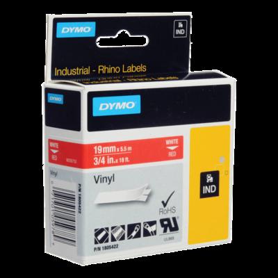 DYMO Industrial Rhino 1805422 Cinta Vinilo 19mm x 5,5m Blanco/Rojo