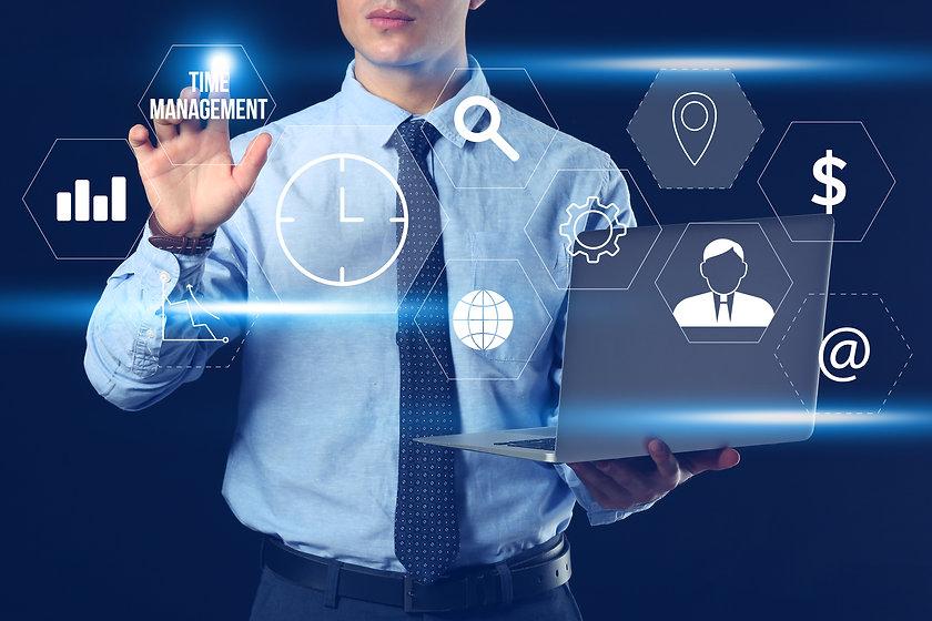 Businessman with laptop using virtual sc