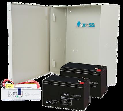 AXCSS Kit de Fuente 12V para Esclusa de 3 Puertas.  Gabinete, Fuente y Batería