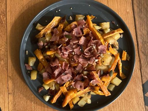 Recette - Duo de frites et son bacon grillé