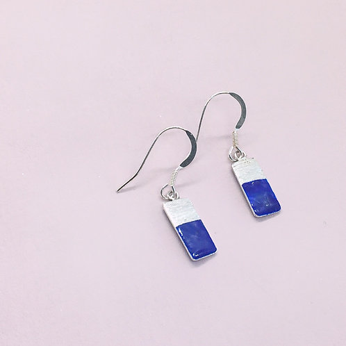 Sterling Silver Enamel Earrings - Blue Rectangle
