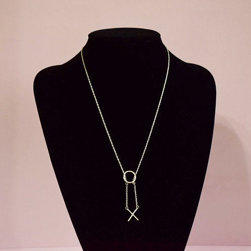 Sterling Silver Initial X  Necklace - Lariat Style
