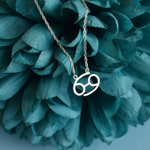 Sterling Silver Zodiac Necklace, Cancer