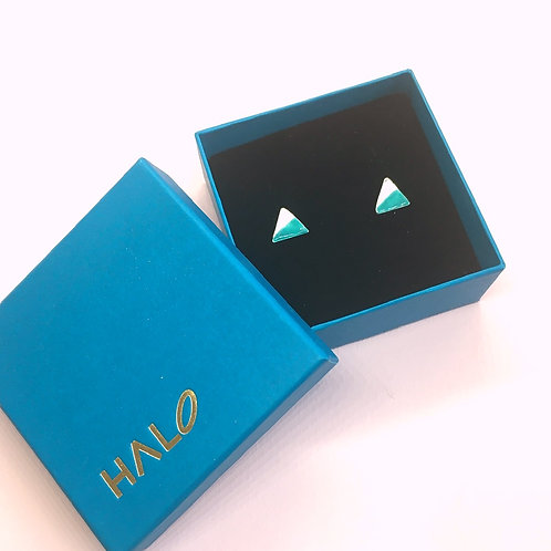 Sterling Silver Enamel Studs -Sea Green Triangle