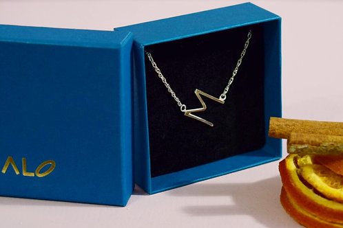 Sterling Silver Initial M Necklace - Tilted Letter