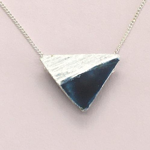 Sterling Silver Enamel Necklace -Black Triangle