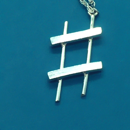 Sterling Silver Music Symbol Necklace, Sharp Sign