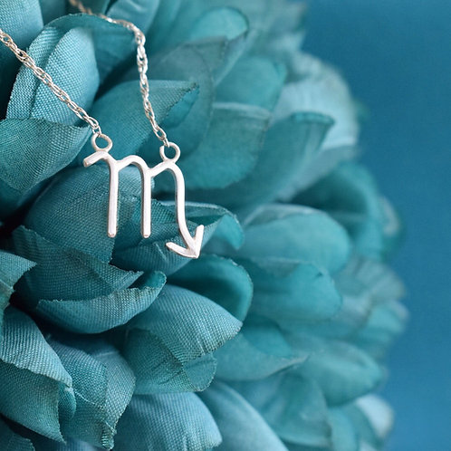 Sterling Silver Zodiac Necklace, Scorpio