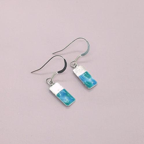 Sterling Silver Enamel Earrings - Waterlilies