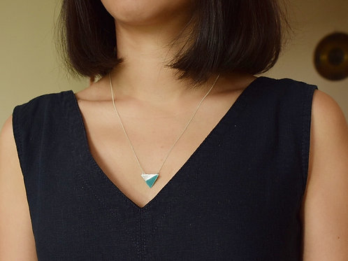 Sterling Silver Enamel Necklace -Sea Green Triangle