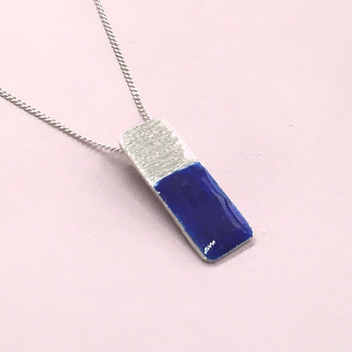Sterling Silver Enamel Necklace - Blue Rectangle