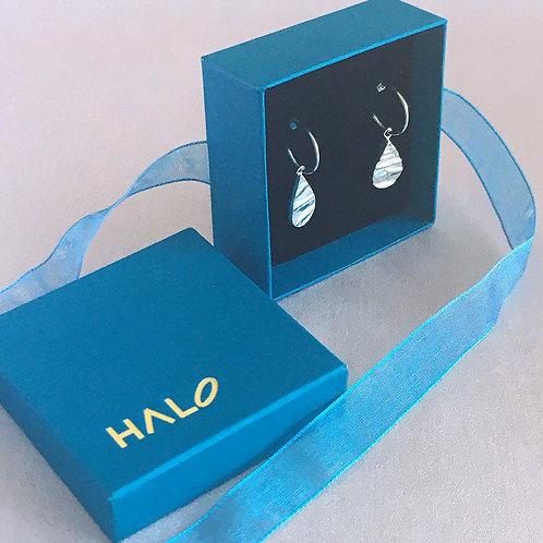Sterling silver teardrop textured earrings