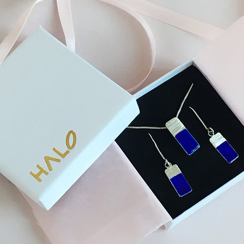 Blue Enamel & Sterling Silver Gift Set