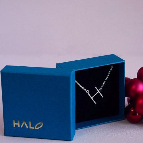 Sterling Silver Initial H Necklace - Tilted Letter