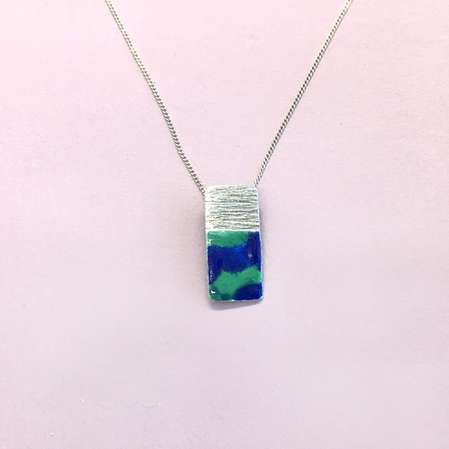 Sterling Silver Enamel Necklace - Blue and Green Rectangle