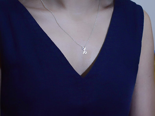 Sterling Silver Mathematical Necklace, Percentage Sign