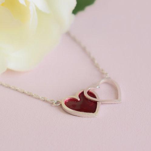 Interlocking Red Heart Necklace