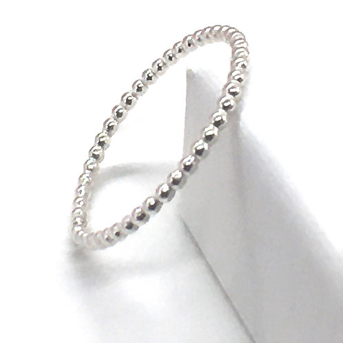 Silver stacking ring - beaded