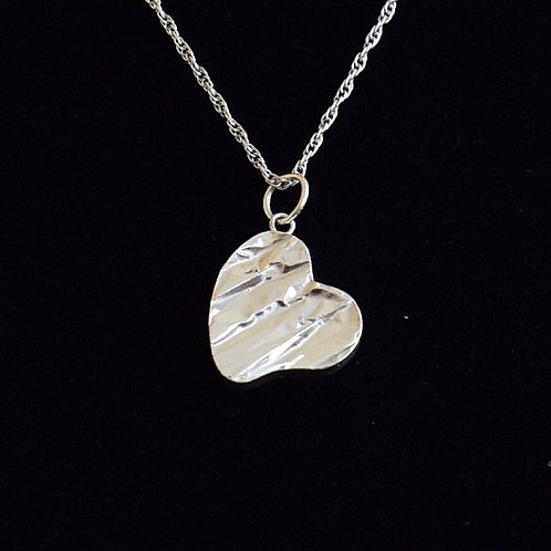 Sterling silver textured heart pendant  necklace