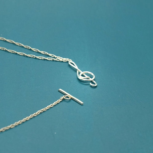 Sterling Silver Music Symbol Necklace, Treble Clef