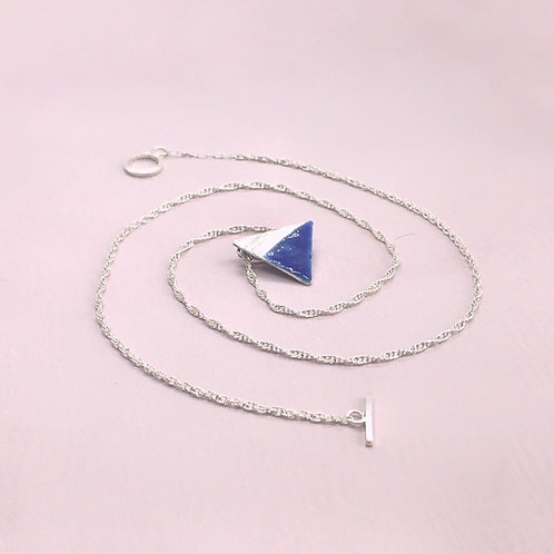 Sterling Silver Enamel Necklace -Blue Triangle