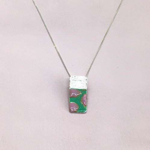 Sterling Silver Enamel Necklace - Pink and Green Rectangle