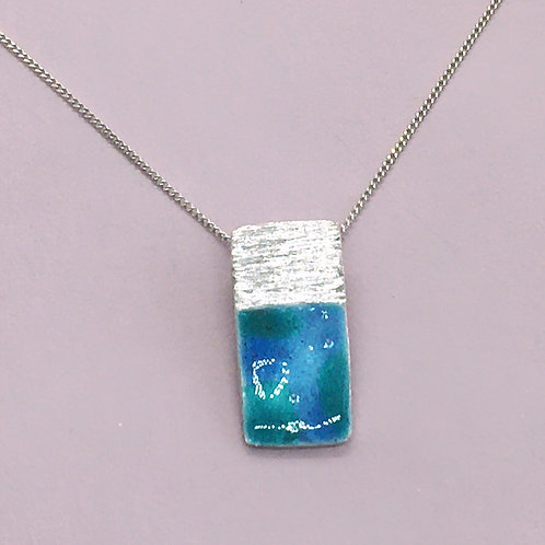 Sterling Silver Enamel Necklace - Waterlilies Rectangle