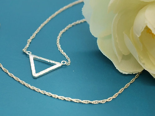 Sterling Silver Textured Triangle Necklace