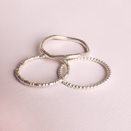 Dainty Stacking Ring Set - Hammered