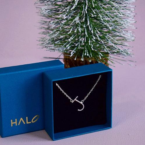 Sterling Silver Initial J Necklace - Tilted Letter