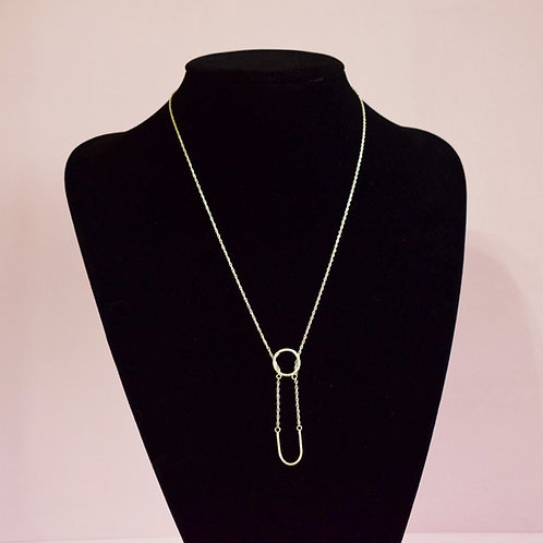 Sterling Silver Initial U  Necklace - Lariat Style