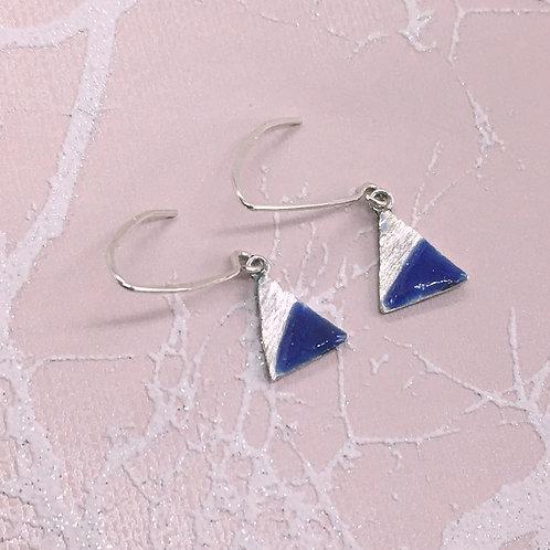 Sterling Silver Enamel Earrings - Blue Triangle