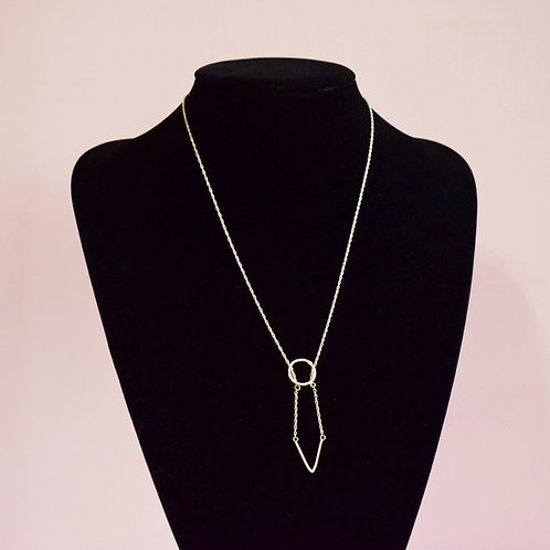 Sterling Silver Initial V  Necklace - Lariat Style
