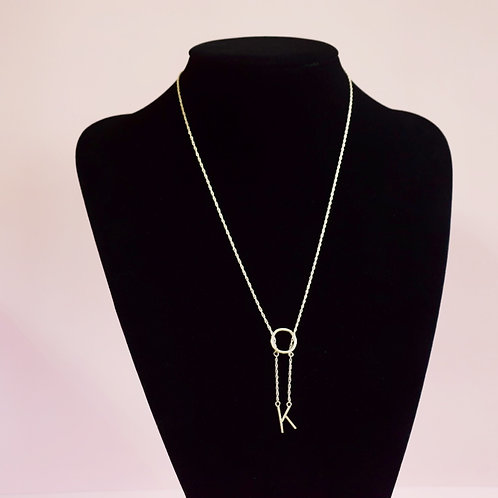 Sterling Silver Initial K  Necklace - Lariat Style