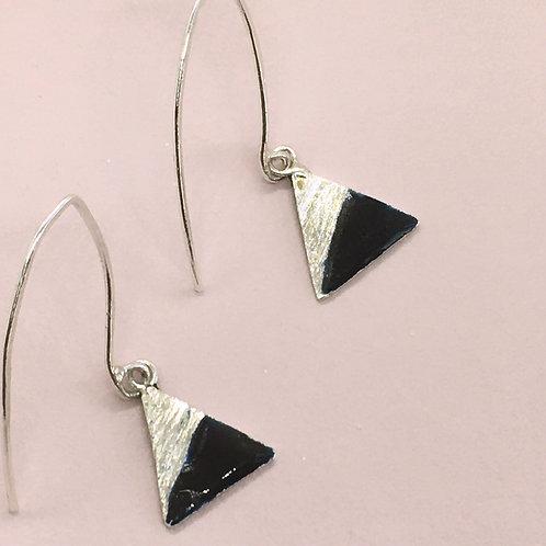 Sterling Silver Enamel Earrings - Black Triangle