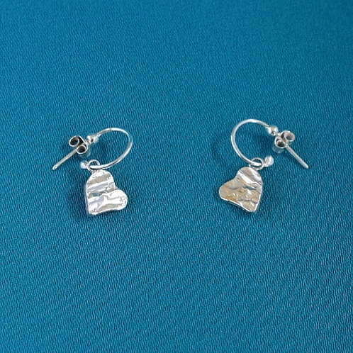 Sterling silver heart textured earrings